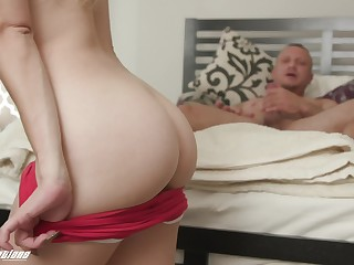Passionate drilling on the bed with shaved pussy Katie Kush